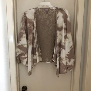 Chico Tan and White Jacket With Back Lace Insert